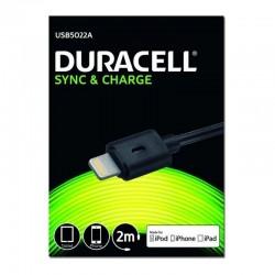CABLE DURACELL USB5022A USB-LIGHTNING - PARA CARGA Y SINCRONIZACIÓN - 2 METROS - COLOR NEGRO