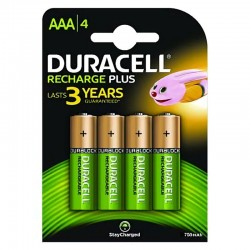 PACK 4 PILAS AAA RECARGABLES DURACELL HR3-B - NIMH - 1.2V -750MAH