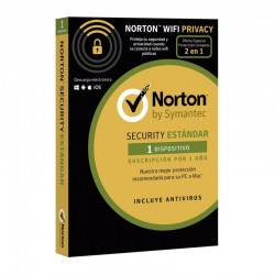 ANTIVIRUS NORTON SECURITY STANDARD 3.0 + WIFI PRIVACY 1.0 - 1 USUARIO - 1 DISPOSITIVO - 1 AÑO - FORMATO ESPECIAL CARD