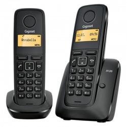 TELÉFONO DECT SIEMENS GIGASET A120 PACK DÚO (BASE+SUP) - NEGRO - ID. LLAM./ DISP. ILUM. / 50 REG. / ECO DECT / BATERÍAS AAA