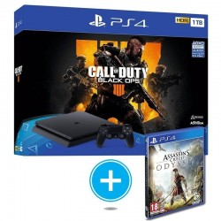 CONSOLA SONY PS4 SLIM 1TB + CALL OF DUTY BLACK OPS 4 + ASSASINS CREED ODYSSEY